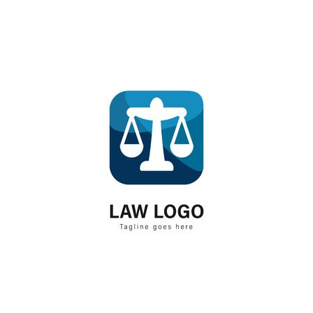 Law logo template design. Law logo with modern frame isolated on white background Banque d'images - 129276648