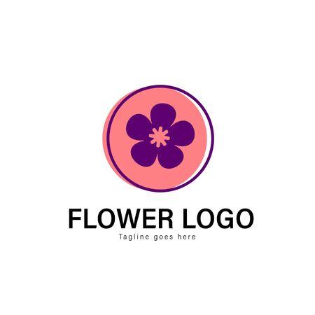 Flower logo template design. Flower logo with modern frame isolated on white background Stockfoto - 129276660