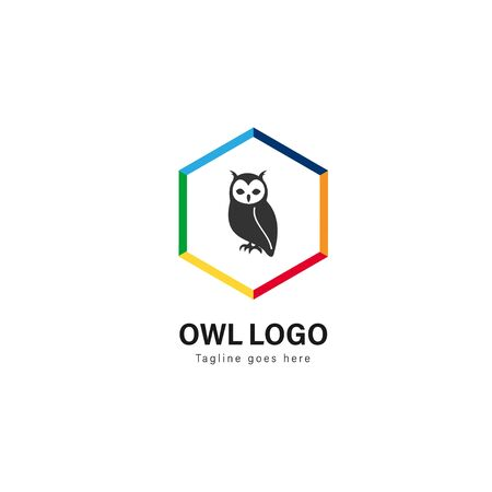 Owl logo template design. Owl logo with modern frame isolated on white background Stockfoto - 129276661