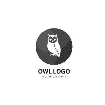 Owl logo template design. Owl logo with modern frame isolated on white background