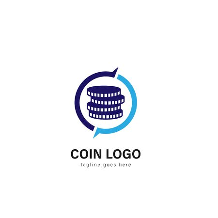 Coin logo template design. Coin logo with modern frame isolated on white background 일러스트