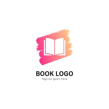 Book logo template design. Book logo with modern frame isolated on white background