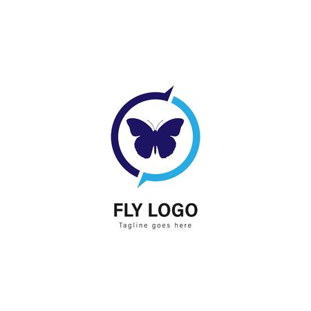 Butterfly logo template design. Butterfly logo with modern frame isolated on white background