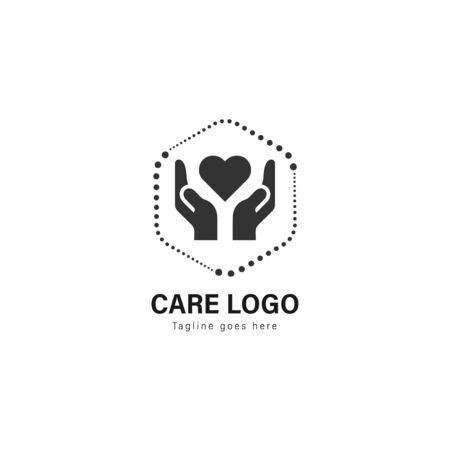Care logo template design. Care logo with modern frame isolated on white background Ilustrace
