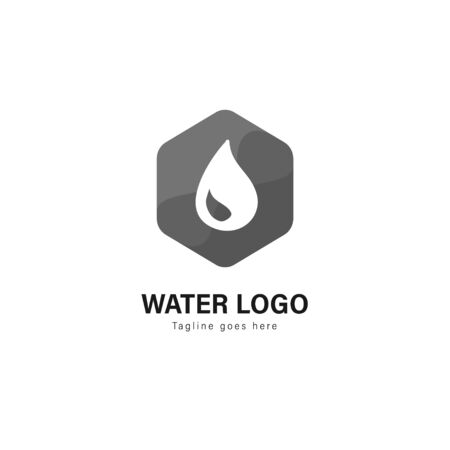 Water logo template design. Water logo with modern frame isolated on white background