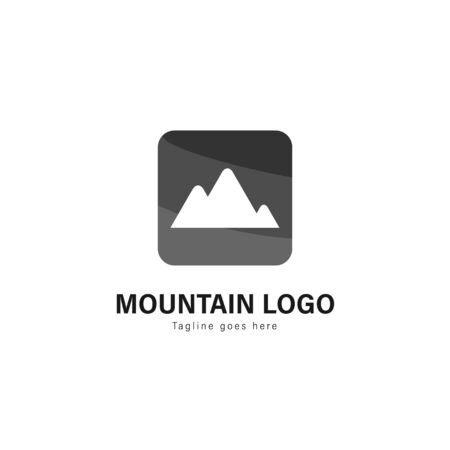 Mountain logo template design. Mountain logo with modern frame isolated on white background Banque d'images - 129369733