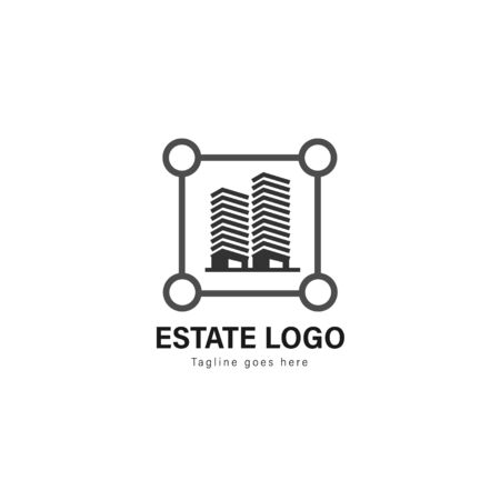 Real estate logo template design. Real estate logo with modern frame isolated on white background
