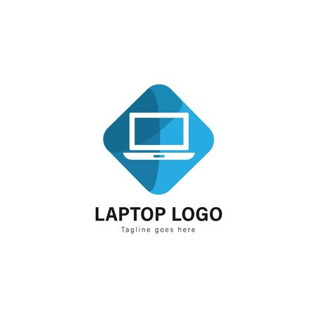 Laptop logo template design. Laptop logo with modern frame isolated on white background 스톡 콘텐츠 - 129415599