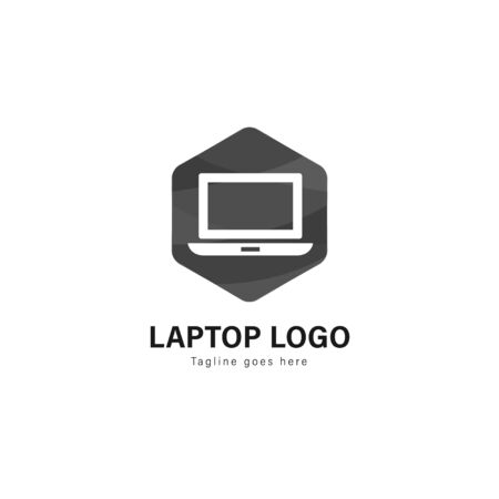 Laptop logo template design. Laptop logo with modern frame isolated on white background 스톡 콘텐츠 - 129415866