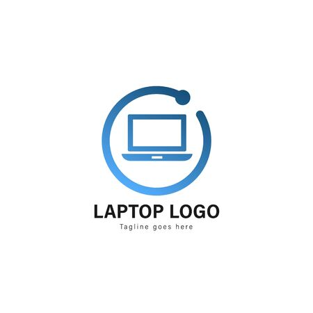Laptop logo template design. Laptop logo with modern frame isolated on white background 스톡 콘텐츠 - 129416505