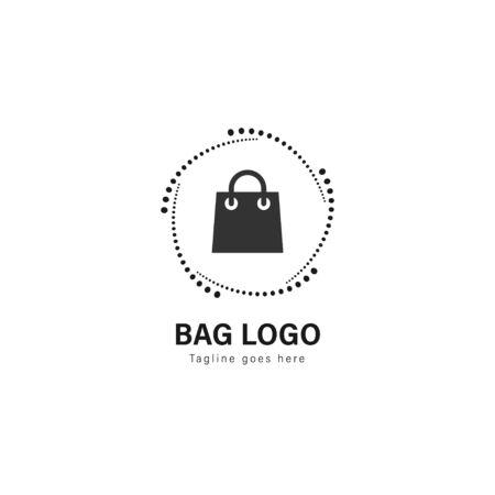 Progettazione del modello di logo del negozio. Logo del negozio con cornice moderna isolato su sfondo bianco