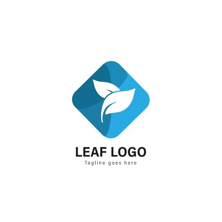 Leaf logo template design. Leaf logo with modern frame isolated on white background