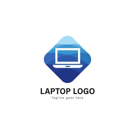 Laptop logo template design. Laptop logo with modern frame isolated on white background