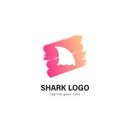 Shark logo template design. Shark logo with modern frame isolated on white background
