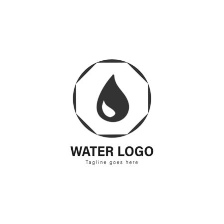 Water logo template design. Water logo with modern frame isolated on white background Standard-Bild - 129492756
