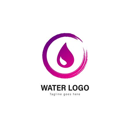Water logo template design. Water logo with modern frame isolated on white background Standard-Bild - 129492907