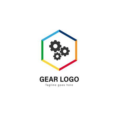 Automotive logo template design. Automotive logo with modern frame isolated on white background Çizim