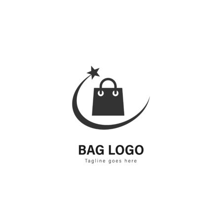Shop logo template design. Shop logo with modern frame isolated on white background