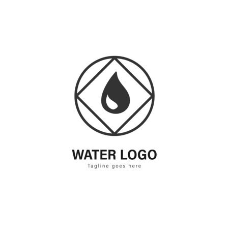 Water logo template design. Water logo with modern frame isolated on white background Standard-Bild - 129493122