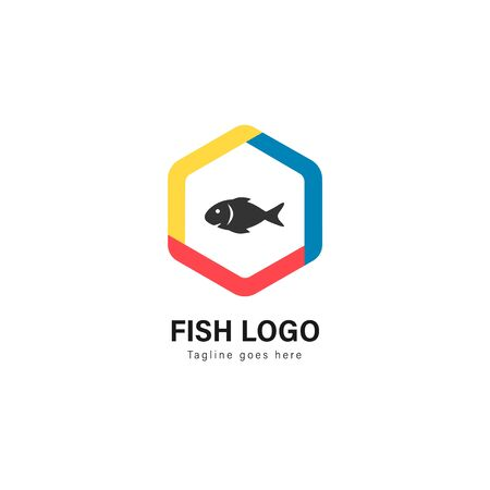 Fish logo template design. Fish logo with modern frame isolated on white background