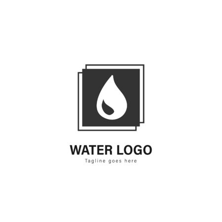 Water logo template design. Water logo with modern frame isolated on white background Standard-Bild - 129493380