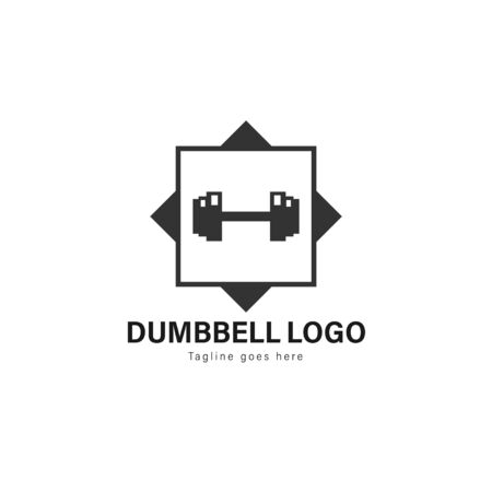 Fitness logo template design. Fitness logo with modern frame isolated on white background 写真素材 - 129493401