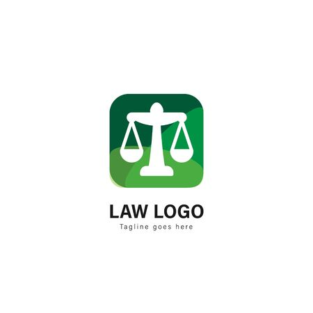 Law logo template design. Law logo with modern frame isolated on white background Illusztráció