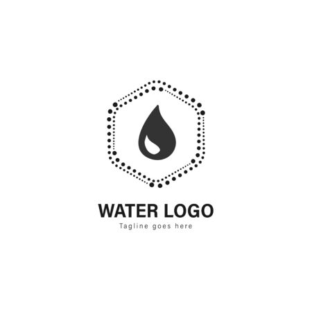 Water logo template design. Water logo with modern frame isolated on white background Standard-Bild - 129493566