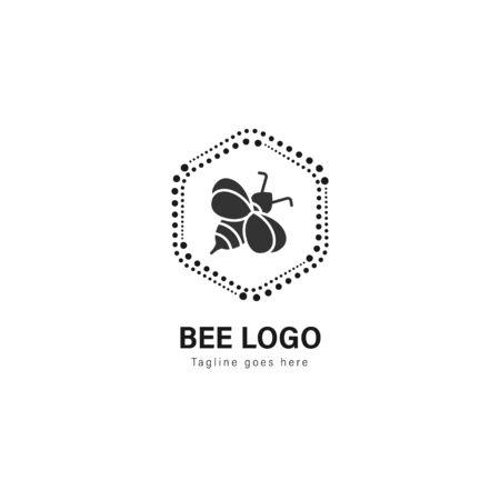 Bienenlogo-Vorlagendesign. Bienenlogo mit modernem Rahmen isoliert auf weißem Hintergrund