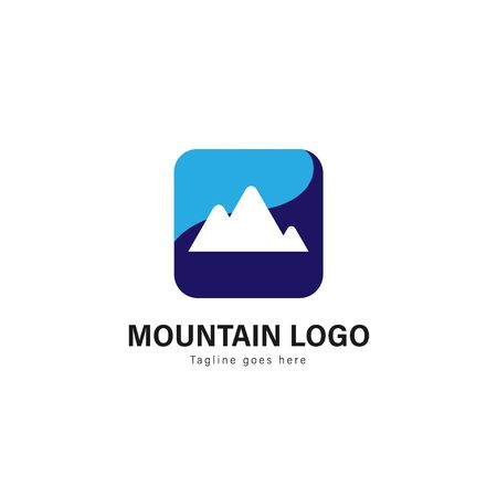 Mountain logo template design. Mountain logo with modern frame isolated on white background Иллюстрация