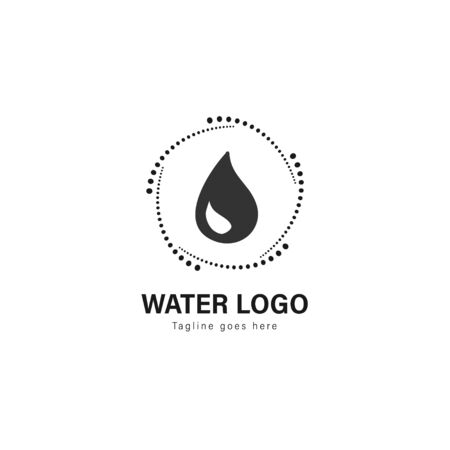 Water logo template design. Water logo with modern frame isolated on white background Standard-Bild - 129493709