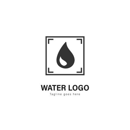 Water logo template design. Water logo with modern frame isolated on white background Standard-Bild - 129493716