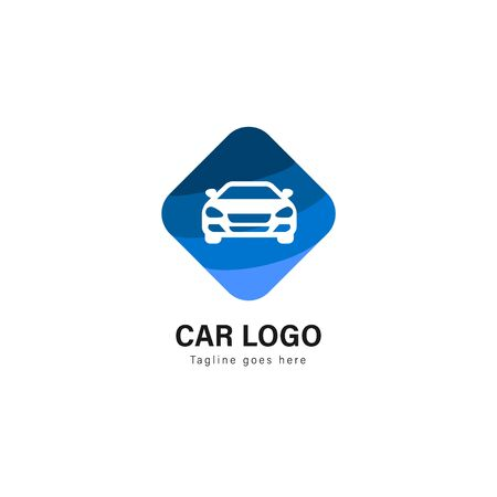 Car logo template design. Car logo with modern frame isolated on white background Çizim
