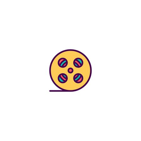 Film reel icon design. Photography and video icon vector illustration
