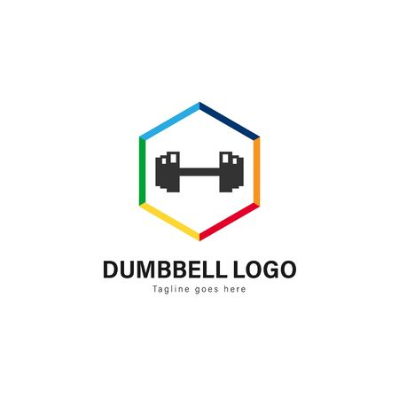 Fitness logo template design. Fitness logo with modern frame isolated on white background 写真素材 - 129493938