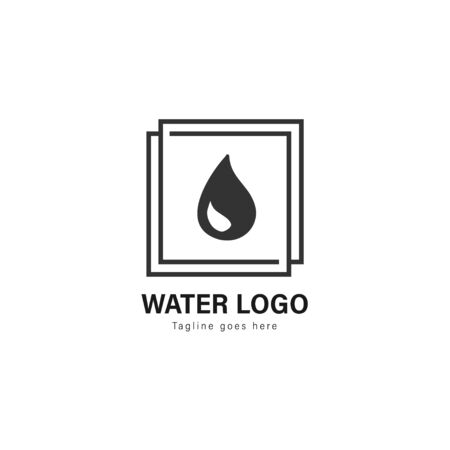 Water logo template design. Water logo with modern frame isolated on white background Standard-Bild - 129494240