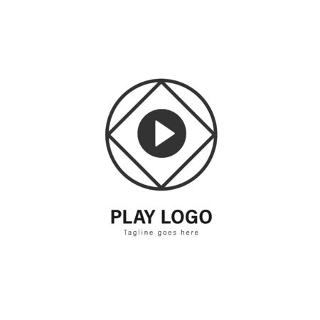 Media play logo template design. Media play logo with modern frame isolated on white background