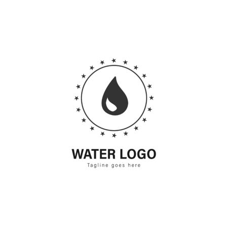 Water logo template design. Water logo with modern frame isolated on white background Standard-Bild - 129494425