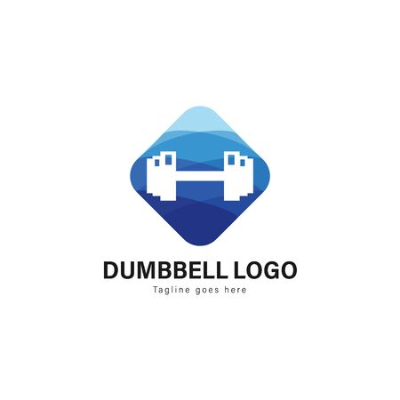 Fitness logo template design. Fitness logo with modern frame isolated on white background 写真素材 - 129494432