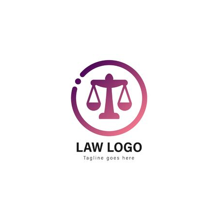 Law logo template design. Law logo with modern frame isolated on white background Vectores