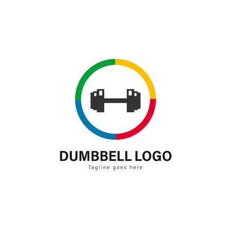 Fitness logo template design. Fitness logo with modern frame isolated on white background 写真素材 - 129494773