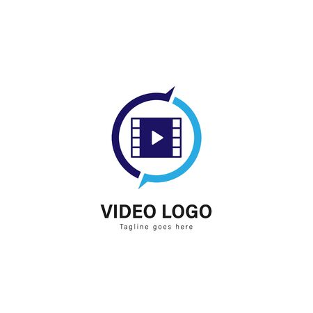 Video logo template design. Video logo with modern frame isolated on white background Standard-Bild - 129494796