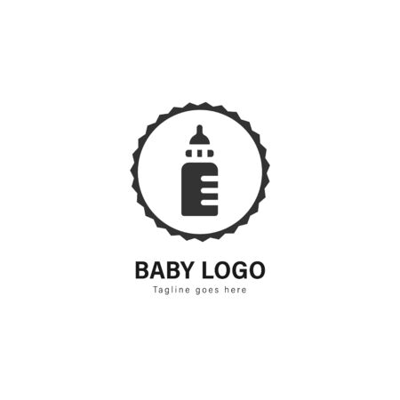 Baby logo template design. Baby logo with modern frame isolated on white background Archivio Fotografico - 129494804