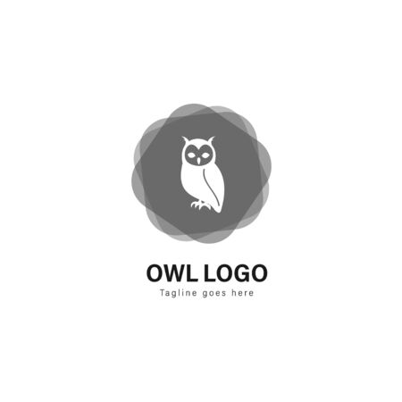 Owl logo template design. Owl logo with modern frame isolated on white background
