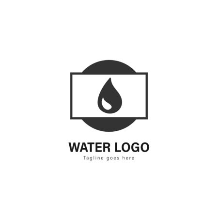 Water logo template design. Water logo with modern frame isolated on white background Standard-Bild - 129495039