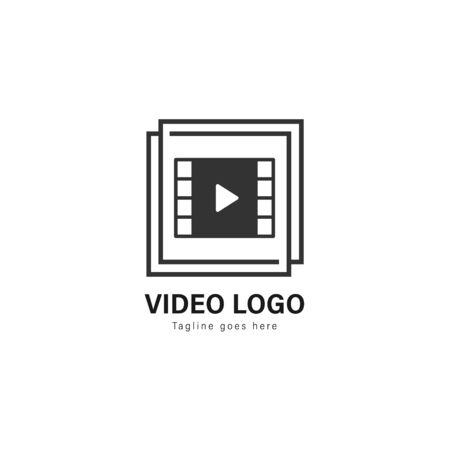 Video logo template design. Video logo with modern frame isolated on white background Stock Vector - 129495125