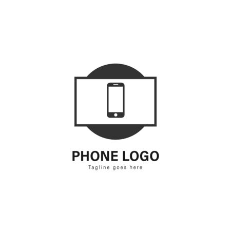 Smart phone logo template design. Smart phone logo with modern frame isolated on white background Stock Vector - 129495155