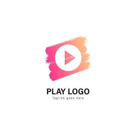 Media play logo template design. Media play logo with modern frame isolated on white background Stock Vector - 129495643