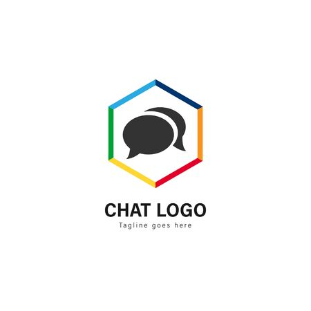 Chat logo template design. Chat logo with modern frame isolated on white background