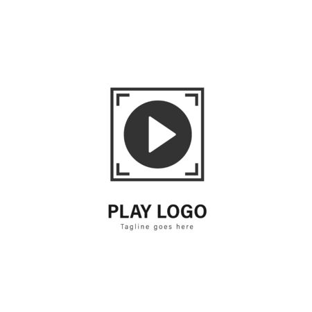 Media play logo template design. Media play logo with modern frame isolated on white background Иллюстрация